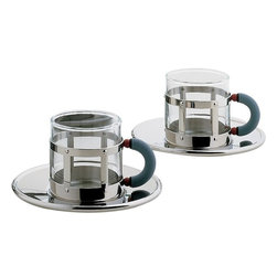 Alessi - Alessi Michael Graves Mocha Cup Set - Pretend you're at a hip cafe in the middle of your garden or kitchen with these mocha cups. Designed by Michael Graves, these stainless steel and glass mocha cups and saucers are playful and modern.