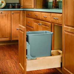 None - Wood Pull-Out 35-quart Waste Container - Maximize storage with this pull-out, 35-quart waste container. A rear compartment for extra storage, a door-mount kit, and easy installation add even more convenience to this waste container drawer.