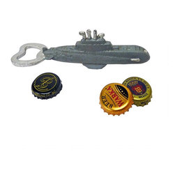 EttansPalace - Nautilus Submarine Cast Iron Bottle Opener: Set of Two - Guests will come up to the surface to admire this antique replica that pops tops with vintage military style! Hand-crafted exclusively for using the time-honored sand cast method, this antique replica cast iron bottle opener, freestanding figurine is hand-painted to capture vintage details that make it a fun and functional gift for your favorite submariner.