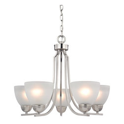 Cornerstone - Kingston 5 Light 1 Tier Chandelier Frosted Glass Shades - Bulb Base:Medium (E26). Bulb Wattage:60. Bulb Count:5. Bulbs Not Included