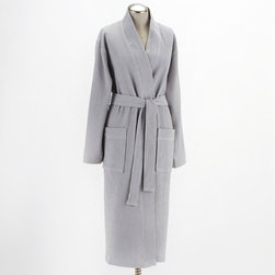 Coyuchi - Coyuchi Waffle Robe - This irresistible Coyuchi robe features a waffle weave for soft sophistication. Warm in classic gray, the luxurious wrap showcases a waist tie and pockets for ultimate comfort. Available in XS/S (32-36), S/M (38-42), M/L (44-46) and L/XL (48-50); Unisex; Organic cotton; Falls below knee; Machine washable