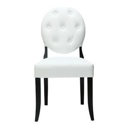 "LexMod - Button Dining Side Chair in White - Button Dining Side Chair in White - Playing off the whimsical spatial elements of the Casper Chair, this buttoned vinyl installment gives transparency a home. Bring light-filled moments inward with an inner sense of laughter and delight. With its padded white vinyl seating and black legs, settle fancy as you uncover yet greater horizons. Set Includes: One - Buttoned Casper Chair Simple Modern Dining Chair, Rubber Wood Frame, Dense Foam Padding for Comfort, Seven Symmetrically Placed Buttons Overall Product Dimensions: 23""L x 20.5""W x 37.5""H Seat Height: 19""HBACKrest Height: 19.5""H - Mid Century Modern Furniture."