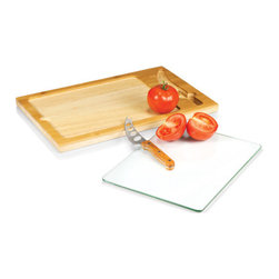 Picnic time - Icon- Rectangular Glass Top Cutting Board w/ knife - Rectangular glass-top cutting board with removable serving tray top and full-tang stainless steel knife stored in board for convenience.