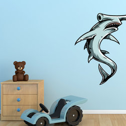 Shark Vinyl Wall Decal SharkUScolor003; 48 in. - Vinyl Wall Decals are an awesome way to bring a room to life!