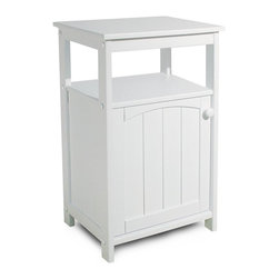 Catskill - Catskill White All-Purpose Storage Stand - 89015 - Shop for Bathroom Etageres Racks and Space Savers from Hayneedle.com! Ideally suited for simple storage in small spaces the Catskill White All-Purpose Stand is perfect for holding your telephone in the hallway or towels in the bathroom. Constructed of warp-resistant materials this stand features a white lacquered finish that will brighten any space. The open storage cubbie is perfect for storing anything from telephone books to folded towels and the cabinet is great for hiding away personal items. Wainscoting on the door adds some charming simple detail. Requires simple nut-and-bolt assembly with the use of common household tools.Dimensions:Overall: 18W x 13D x 28H inchesCabinet Interior: 15W x 9D x 16H inchesCatskill Craftsmen's Eco-friendly PracticesCatskill Craftsmen is committed to protecting the environment through responsible forest management and manufacturing practices. Located in the Catskill Mountains of upper state New York Catskill Craftsmen plays a role in maintaining the health of the New York City watershed. This watershed provides clean water for New York City and other communities in the area. Healthy well-managed forests are better able to filter pollutants from entering streams and rivers which preserves the quality of watershed resources. With this goal in mind the company supports the efforts of the Watershed Agricultural Council (WAC). With the WAC Catskill Craftsmen encourages lumber suppliers (family forest owners and public land managers) to make wise harvesting decisions and control erosion in order to safeguard water quality.Other efforts to protect the environment include using sustainable wood sources and reducing wood waste. Catskill Craftsmen's manufactured items are made from naturally self-sustaining non-endangered North American hardwoods primarily birch and hard rock maple. All sawdust shavings and waste materials generated during the manufacturing process are converted into wood pellet fuel used to heat homes. This alternative heating source creates less ash and lower emissions than some other fuels. By operating their own wood pellet mill Catskill Craftsmen reduces their wood waste to zero. As natural resources become even more valuable Catskill Craftsmen will continue to advance proper stewardship of the pristine Catskill Mountain region.About Catskill CraftsmenFor over 60 years Catskill Craftsmen has provided customers with high-quality domestic hardwood ready-to-assemble products. Located in Stamford New York Catskill Craftsmen manufactures kitchen carts islands work centers gourmet butcher block chopping blocks cutting boards hardwood cabinets furniture book carts and racks. Catskill Craftsmen is recognized as the nation's leading manufacturer of premium wooden products.