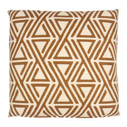 Designer Fluff - Flatiron Pillow, 22x22 - This renaissance-inspired pattern throw pillow is richly woven, featuring subtle tones wedged alongside a bold palette. A stunning accent piece that makes a statement from any angle.
