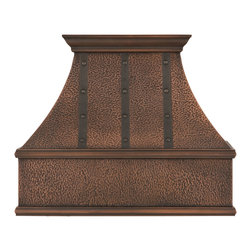 """30"""" L Tuscan Series Copper Wall-Mount Range Hood - Riveted Bands - Hood Only - Add the finishing touch to your kitchen with this wall-mount Tuscan Series Range Hood, featuring ornamental bands and rivets. It adds a warm, rustic appeal to your home, while also keeping kitchen air fresh and clean while you cook."""