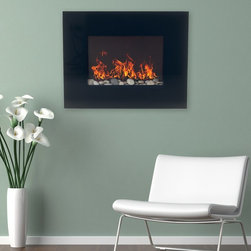 Northwest - Northwest Electric Fireplace Wall Mount with Black Glass Panel - 80-EF451S - Shop for Fire Places Wood Stoves and Hardware from Hayneedle.com! Create your own cozy corner of winter warmth with the Northwest Electric Fireplace Wall Mount with Black Glass Panel. This beautiful fireplace features an ehe elegant pebble base and stainless steel surrounds that together with the black front glass panes create a serene aesthetic essential to any modern home. The included remote allows complete control of flame brightness and two different heat settings.About NorthwestNorthwest electic fireplaces allow anyone to bring warmth and style into their home. Crafted with precision and care for user convenience all Northwest fireplaces allow high quality flame effects and superb heat. Northwest fireplaces are available in a variety of shapes sizes and styles making it easy to add a bold statement to any room.Create a bold style statement in your home or office with a Northwest electronic fireplace. Available in a variety of shapes sizes and styles to ensure a perfect fit for any room.