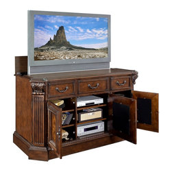 VLIFTCABINET Willowcraft TV Lift Cabinet - Simplify your living room by organizing your audio/visual equipment in the innovative and stylish TVLIFTCABINET Willowcraft TV Lift Cabinet. This hand-carved cabinet with integrated TV lift is constructed of alder and cherry hardwoods. The rich antique brown finish showcases intricate, in-door cabinet inlays framed by elegant columns. The built-in infrared relay system lets you easily operate up to 4 TV and audio components without having to open the cabinet doors.