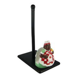 Zeckos - MAMMY African American Napkin / Paper Towel Holder - This vintage look Mammy/Aunt Jemima combination ceramic napkin holder/paper towel roll holder is a great piece to add to your kitchen decor kitchen decor. The holder features brightly colored glazes, and the resin base is dark brown, so it will match almost any decor. It measures 13 inches tall, to the top of the paper towel holder, 9 1/2 inches deep, and 6 inches wide. The napkin holder is 6 inches tall, and attaches to the base with double sided foam tape. She makes a great gift for collectors of African Americana.