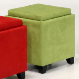 Armen Living - Rainbow Microfiber Storage Ottoman in Green - LC530OTMFGR - Great for the Family Room