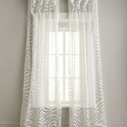"Isabella Collection by Kathy Fielder - Isabella Collection by Kathy Fielder ""Zebra"" Sheer Curtains - Zebra-striped sheers with rod pockets come in your choice of neutral hues. Select Ecru (ivory) or Flax (linen) when ordering. From Isabella Collection by Kathy Fielder. Each sheer is approximately 54""W. Made in the USA of imported polyester. Dry clean."