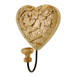 "SouvNear - SouvNear Hand-Carved Heart-Shaped Big Hook, 7.5""x 5"" - * Big, decorative, wall-mountable single coat hook with a wooden knob. Best for heavy coats and clothes."