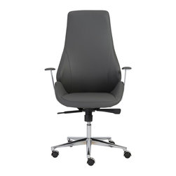 Euro Style - Euro Style Bergen High Back Office Chair 00474GRY - This is a very modern looking chair with an ingenious seat and back. It looks like one graceful piece. But for added comfort and give, it's actually two pieces, separate seats and a backs. There is a space where the two would ordinarily come together. The result is remarkable comfort in very classy chair. Gorgeous.