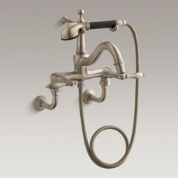 KOHLER - KOHLER Finial(R) bath faucet with lever handles, diverter spout, polished finish - Add elegance to your bath with Finial Traditional faucets and accessories. This traditionally styled bath faucet with handshower brings a vintage touch to your bathroom while offering comfort and convenience. The two-lever design is ergonomic for easy operation. Black and white accents echo the timeless beauty of Finial bathroom accessories.