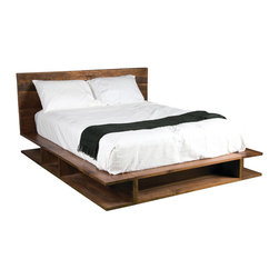 Four Hands - Bonnie Bed, King - Hand-crafted from responsibly sourced peroba, walnut and poplar, this sleek platform bed will bring laid-back luxury to your modern bedroom. The combination of woods, united with a warm patina, makes for a welcome way to take your rest.