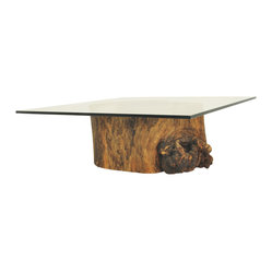 Glass Top Hollow Trunk Coffee Table