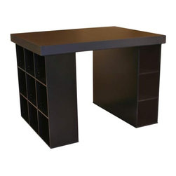 Black Project Center With One Bookcase And Three Bin Cabinet Venture Horizon Des - This desk not only looks great but has plenty of opportunity for effective storage. I love the clever use of space with the series of different sized shelves underneath that can accommodate just about anything.