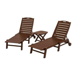 POLYWOOD® Nautical Stackable Wheeled Chaise - Set of 2 with Table - These two armless chairs are utterly floppable, making the POLYWOOD Nautical Stackable Wheeled Chaise - Set of 2 with Table the perfect setup for playing Last one in the lounge chair is a rotten egg. As you might expect from the picture, this set features two armless chaise lounge chairs with five degrees of comfort in their adjustable backrests and a side table that's perfect for beverages and munchables. What you might not expect is that these pieces can spend the next five or ten years exposed to sun, salt spray, insects, humidity, extreme heat and cold, and even spills ranging from corrosive chemicals to bbq sauce, and you still won't detect any fading, peeling, cracking, rotting, chipping, or splintering. Low maintenance solid POLYWOOD recycled lumber never needs to be painted, stained, waterproofed, or sanded. When you're not using the chairs, you can fold them flat and stack them. Your purchase benefits your nation and the planet, because it's made in the USA with over 90% recycled materials. Commercial grade stainless steel hardware further demonstrates the commitment to quality construction. POLYWOOD cleans easily with soap and water and resists food stains. This set comes with a 20-year limited residential warranty or 1-year limited commercial warranty.About Poly-WoodThe advantages of Poly-Wood Recycled Plastic are hard to ignore. Poly-Wood absorbs no moisture and will NOT rot, warp, crack, splinter, or support bacterial growth. Poly-Wood is also compounded with permanent UV-stabilized colors, which eliminates the need for painting, staining, waterproofing, stripping, and resurfacing. This material is impervious to many substances, including salt water, gasoline, paint, stains, and mineral spirits. In addition, every Poly-Wood product comes with stainless steel hardware.Poly-Wood is extremely easy to clean and maintain. Simple soap and water is all you need to get rid of dirt and make your