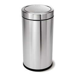 simplehuman - simplehuman 55 Liter Swing Top Can - This simplehuman trash can has a balanced swing lid that is center-weighted so it swings opens easily and then gently swings back into place. Removable inner bucket  lifts out for easy trash disposal.