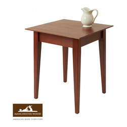 """22"""" Square Cherry Shaker End Table by Manchester Wood - Our 22"""" Square Cherry End Table adds to any room setting. Made of solid cherry construction with a clean edge to hold your favorite items. The stain resistant lacquer finish comes in either Natural Cherry or Heritage Cherry finishes."""