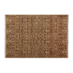 Uttermost - Uttermost Vallata 8 x 10 Rug 70010-8 - Hand Knotted Cut Hemp In An Aged Beige With Rust Brown Details And A Light Gray Fringe.