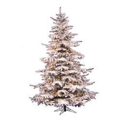 Vickerman - Flocked Sierra Fir 7.5' Artificial Christmas Tree with Clear Lights - Features: -Artificial Christmas tree. -Flocked Sierra Fir collection. -750 Clear Dura-Lit mini lights. -On/off switch cord. -1324 Tips. -Heavy duty metal stand. -Includes one extra set of 50 mini lights. -Assembly required. -Manufacturer provides 10 years construction warranty on tree and 5 years or 3000 hours warranty on light.