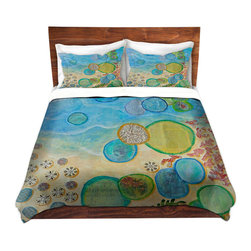 DiaNoche Designs - Duvet Cover Twill - Detritus II - Lightweight and super soft brushed twill Duvet Cover sizes Twin, Queen, King.  This duvet is designed to wash upon arrival for maximum softness.   Each duvet starts by looming the fabric and cutting to the size ordered.  The Image is printed and your Duvet Cover is meticulously sewn together with ties in each corner and a concealed zip closure.  All in the USA!!  Poly top with a Cotton Poly underside.  Dye Sublimation printing permanently adheres the ink to the material for long life and durability. Printed top, cream colored bottom, Machine Washable, Product may vary slightly from image.