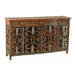 Ambella Home - Showcase Console Table - This spectacular sideboard will leave you speechless. Featuring a leather top with etched brass accents, four scrolled iron doors and four drawers, this two-shelf sideboard is impressive in every way. Use it to hold books or other media in your living room or to display special-occasion dinnerware in your formal dining room.