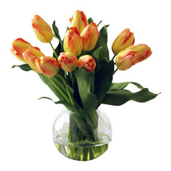 "Jane Seymour Botanicals - Tulip Bubble Bowl, Yellow Orange - Freshness personified! A bunch of orange and yellow tulips in a clear glass vase brings that springtime feeling to your home. The best part? These remarkably realistic ""forever flowers"" will never lose a single petal."