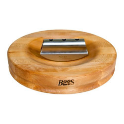 John Boos - Herb A Round Cutting Board w Knife - Includes stainless steel rocker knife and board cream with beeswax. Groove grip. Reversible. Edge grain construction. Dished out center for herb preparation. Warranty: One year against manufacturing defects. Made from northern hard rock maple. Made in USA. 13 in. Dia. x 2.25 in. H (11 lbs.)