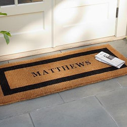 """Personalized Extra-Large Doormat, 30 x 48"""", Espresso - Our hand-screened doormats make a welcoming statement for guests. Single Wide: 36"""" wide x 22"""" deep x 1.5"""" thick Extra Large: 30"""" x 48"""" x 1.5"""" thick Double Wide: 57"""" wide x 24"""" deep x 1.5"""" thick Border and text can either be black or espresso. Thickly woven of naturally durable coir, a fiber derived from the outer husk of coconut shells. May be personalized at no additional charge. Monogram will be centered on the doormat. Imported."""