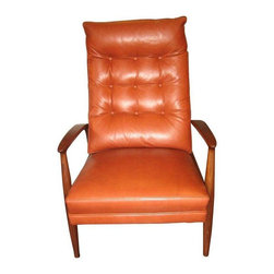 "Used Milo Baughman For Thayer Coggin Leather Recliner - Beautiful new Milo Baughman for Thayer Coggin Viceroy Leather recliner in grade C leather.  Solid Walnut Frame, tight seat, foam/fiber/Semi attached back cushion made of Trillium Fiber.  Depth of chair when fully extended is 64""."