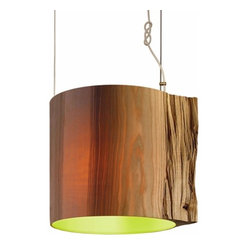 ecofirstart.com - The Wise One Pendant Light - Channel an enchanted woods in your home with these rustic-modern pendants. The lampshades are actually carefully hollowed out logs, with all the unique grain markings, bumps and knots intact. The result is absolutely magical when suspended over your dining table, kitchen island or entryway.