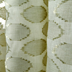 Linen Sheer Raffia Circles Drapery in Seafoam - Discount Linen Sheer Drapery Fabric with Raffia Circles in Seafoam & Cream. Linen blend ideal for drapes, curtains, and other window treatments, or bed canopy