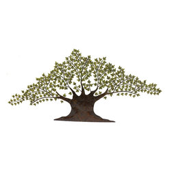 Casa Cortes - Tree of Harmony Large 92-inch Metal Wall Art Decor - Create peace within your home decor with the symbolic Tree of Harmony wall art. Measuring a generous 92 inches wide, this bronze brown metal sculpture features hand-finished olive green leaf accents to bring tranquility to any decorating space.