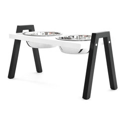 Doca Pet - Doca Pet Stray Dog Diner, White, Large - Powder coated top. Black painted solid maple legs, rubber feet. Minimal assembly required.
