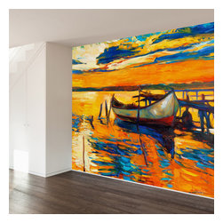 WallsNeedLove - Impressionist Canoe Wall Mural Decal - Home may be where the heart is, but art is where the soul lies. Bring heart and soul together with this beautiful art print in the style of a modern impressionist. Bring color, calm, fun and art to any room with this wall mural decal.