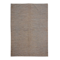 "ALRUG - Handmade Beige/Brown Oriental Kilim  6' 8"" x 9' 4"" (ft) - This Afghan Kilim design rug is hand-knotted with Wool on Wool."