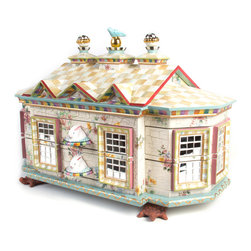 Chicken Palace Jewelry Box | MacKenzie-Childs - The top section of our jewelry armoire, should you prefer to place it atop your own dresser. Right outside our windows, our very own Chicken Palace provides the inspiration for this spectacular piece. Add imagination and the result is uniquely MacKenzie-Childs: crackle finish and mirror mosaics; floral decals; hand-painted checks, stripes, and faux marbling; handmade ceramic rabbit drawer pulls, turtle feet, and finials; and a sweet blue bird perched on the rooftop. The two-piece armoire and jewelry box top has 39 drawer compartments (even some hidden ones), and each is lined with lush pink velvet. Hinged sides open to reveal a painted interior with hooks and storage for necklaces and bracelets. Imported mahogany armoire is hand-decorated and finished by our artisans in Aurora.