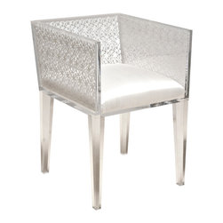 """White Floret Lace Chair - This is a custom, handcrafted, """"Floral Art"""", one-of-a-kind item. The White Floret Lace Chair created from clear lucite acrylic frame with encased Venetian lace and a silk upholstered seat."""