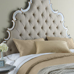 """Horchow - Bristol Queen Headboard - Regal, tufted-linen headboard in medium taupe is edged with swirls of antiqued mirror and wooden accents with hand-painted golden highlights. Made of hardwood solids, mirror glass, and linen. King size, 80""""W x 4""""D x 82.875""""T; adjusts to 85.675""""T or 8..."""