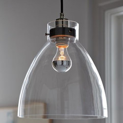 Industrial Pendant, Glass - This light is simple and industrial, and would look great hung over an island or kitchen sink.