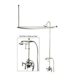 """Kingston Brass - Kingston Brass CCK3141AL Polished Chrome Vintage Vintage Leg Tub Kit - Leg Tub Kit with Faucet Body, Metal Lever Handles, Personal Hand Shower, Shower Ring, Showerhead, Drain and Overflow from the Vintage CollectionKingston BrassÂ' primary mission is to become the leading provider of cost effective, high quality products in the plumbing community. Their focus has made them grow by leaps and bounds in just a few years by identifying the key problems in manufacturing today and solving them. Kingston Brass produces high quality products ranging from kitchen, bath, and lavatory faucets to accessories such as diverters, towel bars, robe hooks, supply lines, and miscellaneous parts. With the low price, amazing stock times and quality products, you can rest assured that when you order a Kingston Brass product you will love every part of the experience, and it will last for generations to come.Features:Coordinates well with Traditional / Classic theme Shower riserConstructed from solid brass for durability and reliabilityFinished with a premium color to resist tarnishing and corrosionHandle style: Metal LeverHandshower included: YesNumber of handles: 3Drain assembly included: YesSpecifications: Height: 72""""Length: 57""""Width: 31""""Spout reach: 3.75"""""""