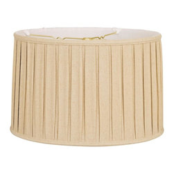 """""""Royal Designs, Inc"""" - """"Shallow Drum English Box Pleat Basic Lampshade - Linen Beige 17 x 18 x 11.5, 6- - """"This Shallow Drum English Box Pleat Basic Lampshade is a part of Royal Designs, Inc. Timeless Basic Shade Collection and is perfect for anyone who is looking for a traditional yet stunning lampshade. Royal Designs has been in the lampshade business since 1993 with their multiple shade lines that exemplify handcrafted quality and value.Please note that there will be an over-sized shipping surcharge for this lamp shade. All other shipping promotions will still be accepted, unless otherwise noted. Exterior Fabric: Hand Tailored Silk-Type Shantung (except Linen, Mouton, Burlap & Faux Rawhide fabrics)Interior Fabric: Off-White Softback Lining (Black, Burlap & Faux Rawhide fabrics have gold lining)Washer: Standard brass-finish spider fitter, use a finial to fasten shade. (All shades with 9�+ top diameter have a V-Notch fitter for use on a 6� or 8� reflector bowl)Trim: Top and bottom trim (single or double) with vertical pipingFrame: Heavy grade rust resistant metal frameBulb: Suggested maximum wattage is 150-watt for most sizes Height is measured by slant height from top to bottom of the lampshades� front face"""