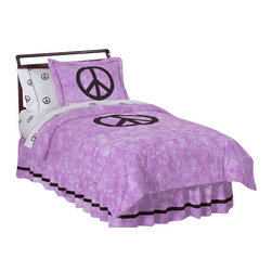 Sweet Jojo Designs - Purple Peace Children's Bedding Set - The Purple Peace Children's Bedding Set by Sweet Jojo Designs will help you create an incredible room for your child. This set combines groovy 60's style with high-end modern design. This collection uses the stylish colors of Purple and Black. The fabrics are 100% cotton and machine washable for easy care. This set is available in a Twin and Queen size.