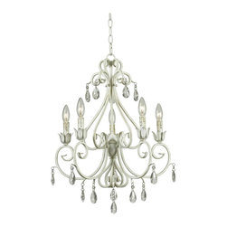 Kenroy - Kenroy KR-92046WW Chamberlain 5 Light Chandelier - Delicate curves, and a French design, influence give Chamberlain's timeless profile and chic Weathered White finish a matriarchal presence. Attention to detail, and the sparkle of cut glass accents, festoons this regal family.