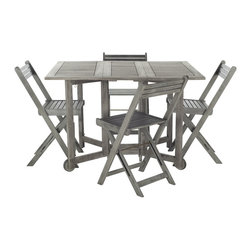 Safavieh - Safavieh Arvin Teak Grey Wash Acacia Wood 5-piece Outdoor Dining Table Set - An ingenious space saver,Arvin outdoor dining table and chair set is designed for gracious outdoor living.