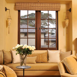 Italian Tuscan Style Home - StainGrade Mahogany Double Outswing Casements with Multi Point Locking System