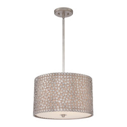 Quoizel - Quoizel CKCF2816OS Confetti Pendant Light - This collection features confettilike metal chips encompassing an inner offwhite linen shade.  The old silver finish and frosted diffuser completes the design of this funkychic series.  Confetti equals fun.